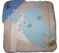 """Комплект на выписку """"HAPPY BEAR"""", голубой + подарок шапочка"""
