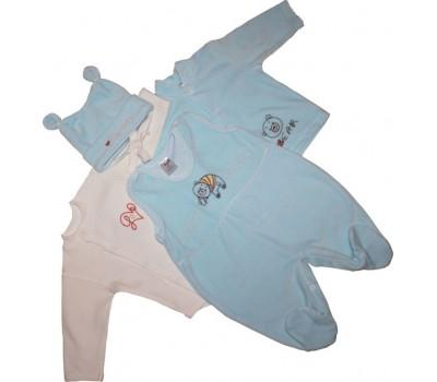"""Набор для новорожденного """"Happy bear"""", голубой, велюр"""