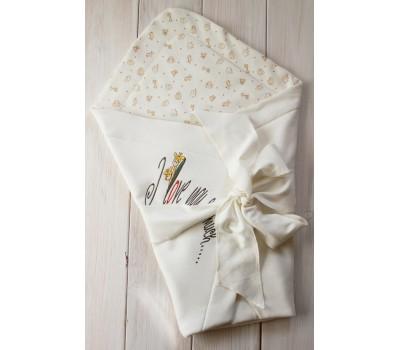 """Летний плед-конверт на выписку """"I love you so much…."""", сметанный"""