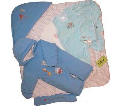"Зимний комплект на выписку SUPER WARM ""Happy bears"", голубой + подарок шапочка"