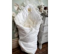 Конверт-одеяло нарядный зимний на меху с гипюром BabyPollo