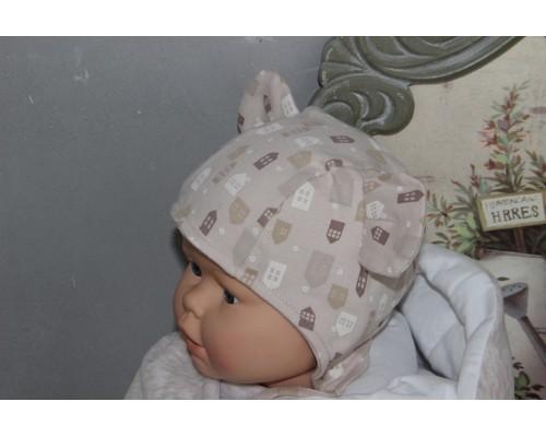 Шапочка интерлок с ушками BabyPollo 5-281