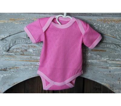 Боди однотонное, короткий рукав (рибана, цвет розовый)