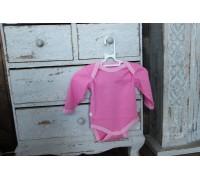 Боди однотонное, длинный рукав (рибана, цвет розовый)