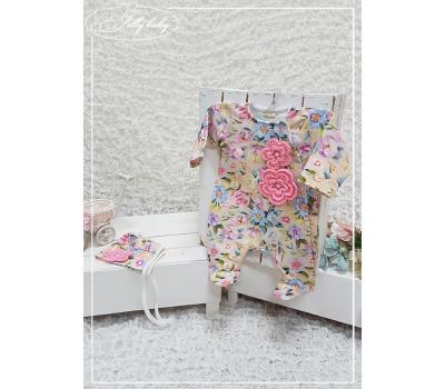 Комплект на выписку с вязаными цветочками JollyBaby