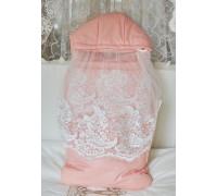 Конверт-мешок с накидкой JollyBaby розовый демисезонный