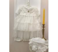 """Крестильное платье для девочки JollyBaby """"Кристина"""" с воротником"""