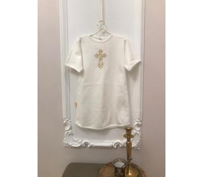 """Рубашка крестильная JollyBaby """"Вышивка"""" кнопки сзади"""