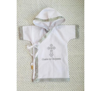 Рубашка крестильная JollyBaby с капюшоном р.62-80