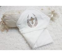 Крестильное полотенце-уголок с орнаментом JollyBaby
