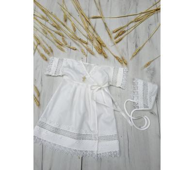 Крестильное платье JollyBaby с кружевным чепчиком р.62-80