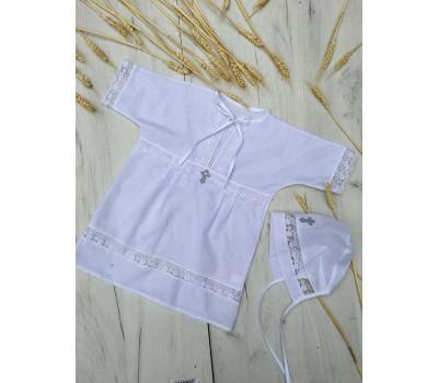"""Рубашка крестильная JollyBaby """"Батист белый"""" р.62-80"""