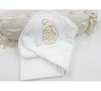 """Махровое полотенце с капюшоном """"Зайка в берете"""""""