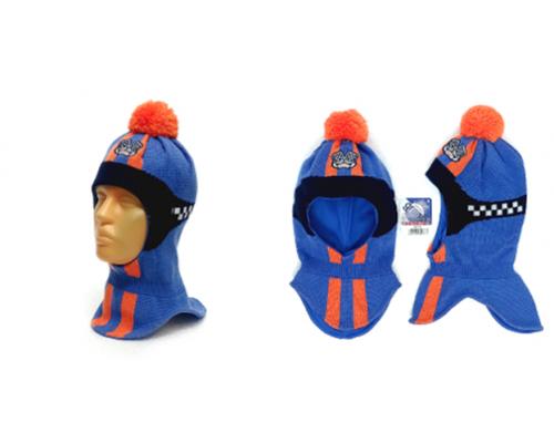 """Шапка-шлем GRANS """"Формула"""" оранжевый-голубой, р.50-52"""