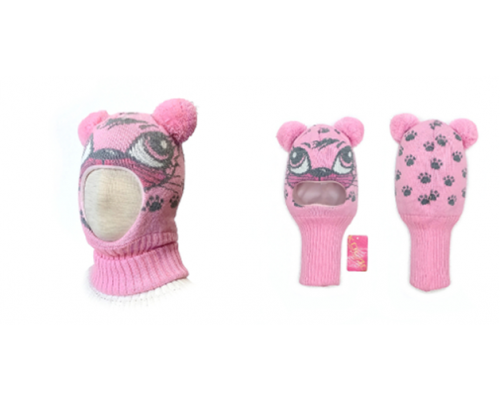 "Шапка-шлем KOLAD ""Кошка"" розовый, р.46-48"