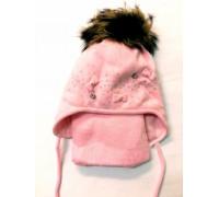 """Шапка+шарф """"Бантики"""" розовый р.52-54"""