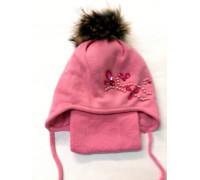 """Шапка+шарф """"Бусы"""" розовый р.52-54"""