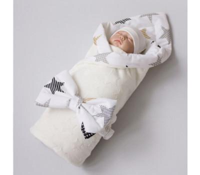 Одеяло на выписку КрошкинДом «Звездочки» с бантом на резинке летнее
