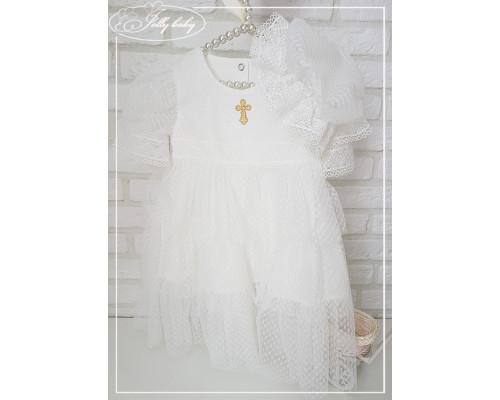 """Крестильное платье для девочки с капором JollyBaby """"Кристина"""""""