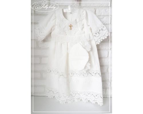 Крестильное платье с капором JollyBaby (батист)