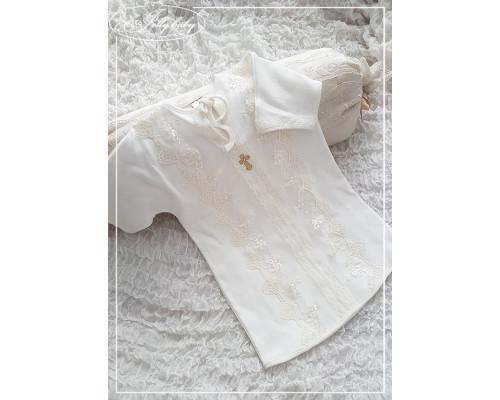 """Крестильная рубашка JollyBaby  """"Кружево"""" (цветочное кружево)"""