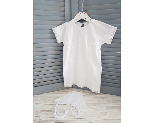 Крестильная рубашка с чепчиком JollyBaby р.68