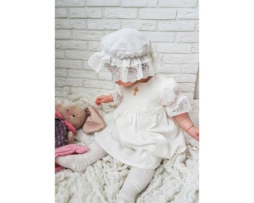 """Крестильное платье с капором JollyBaby """"Ажур"""" р.62-86"""