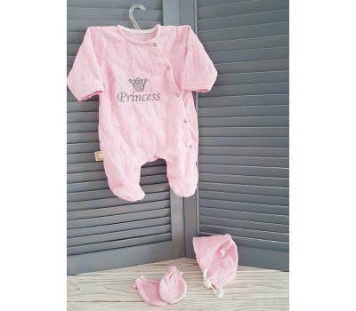 """Велюровый комплект на выписку MamiBaby """"Принцесса"""" розовый"""