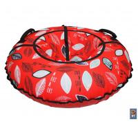 Санки надувные Тюбинг RT Листья на красном + автокамера, диаметр 105 см