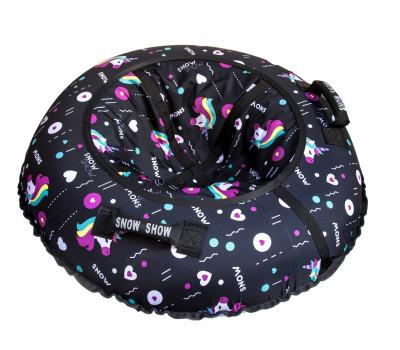 Санки надувные Тюбинг RT Единорог черный + автокамера, диаметр 105 см