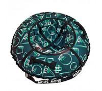 Санки надувные Тюбинг RT Геометрия зеленый узор + автокамера, диаметр 105 см
