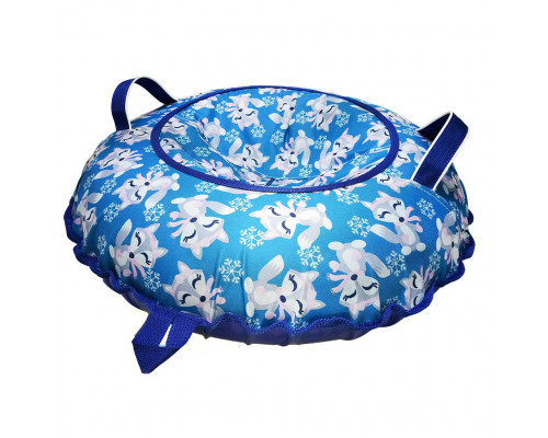 Санки надувные Тюбинг Oxford Принт Лисички на синем + автокамера, диаметр 110 см