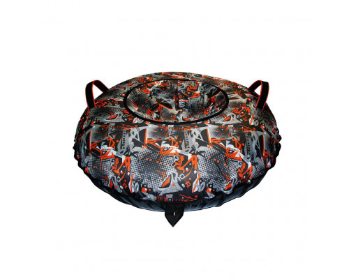 Санки надувные Тюбинг Oxford Принт надписи Door оранж + автокамера, диаметр 110 см