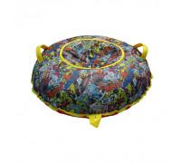 Санки надувные Тюбинг Oxford Принт Комиксы + автокамера, диаметр 110 см