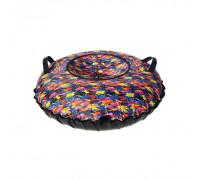 Санки надувные Тюбинг Oxford Принт Яркие кисти + автокамера, диаметр 110 см