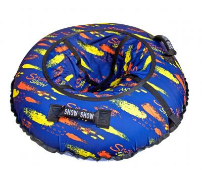 Санки надувные Тюбинг RT Краски на синем + автокамера, диаметр 118 см