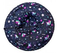 Санки надувные Тюбинг RT Единорог на чёрном, диаметр 118 см