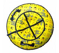 Санки надувные Тюбинг RT Смайлики жёлтые + автокамера, диаметр 118 см