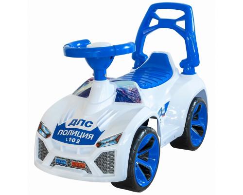 Каталка машинка Ламбо с клаксоном POLICE бело-синяя ОР021в2