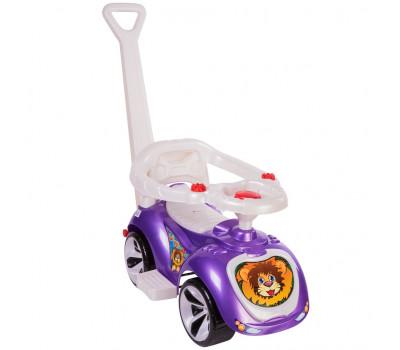 Каталка машинка с родительской ручкой Мишка (LAPA) цвет фиолетовый ОР809