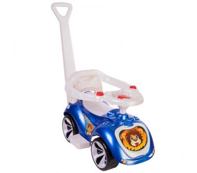 Каталка машинка с родительской ручкой Мишка (LAPA) цвет синий ОР809