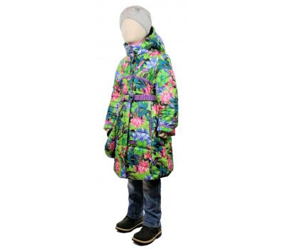 Пальто весна-осень TOMAS Цветок, зеленый-сирень