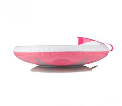 Тарелка с подогревающим дном и присоской BabyOno розовая