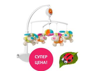 """Спеццена на музыкальную карусель BabyOno """"Цветные собачки"""" + ночник в подарок!"""