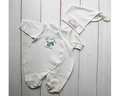 """Набор для новорожденного PLUMP """"Little zebra"""", сметанный + подарок царапки"""