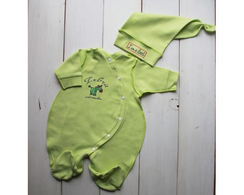 """Набор для новорожденного PLUMP """"Little zebra"""", салатовый + подарок царапки"""