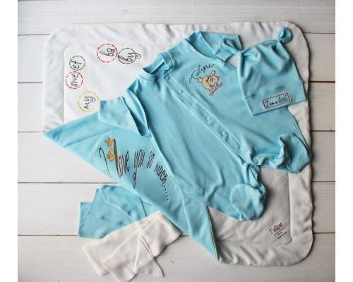 """Летний комплект на выписку PLUMP  """"Bear sport"""" , голубой + подарок царапки"""