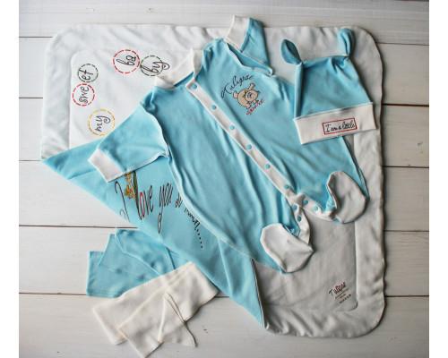 "Летний комплект на выписку PLUMP  ""Bear sport"" , сметанно-голубой + подарок царапки"