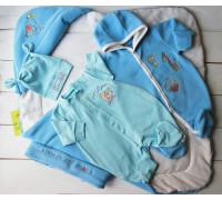 "Комплект на выписку весна-осень PLUMP ""Bear sport"", голубой + подарок царапки"