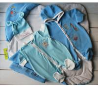 "Комплект на выписку весна-осень PLUMP ""Bear sport"", сметанно-голубой + подарок царапки"